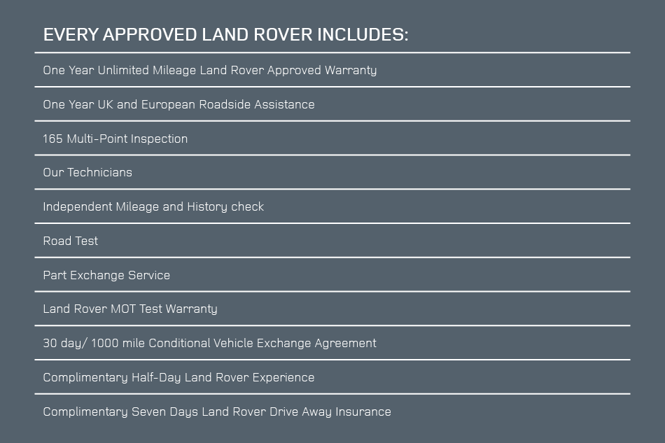 Land Rover Includes