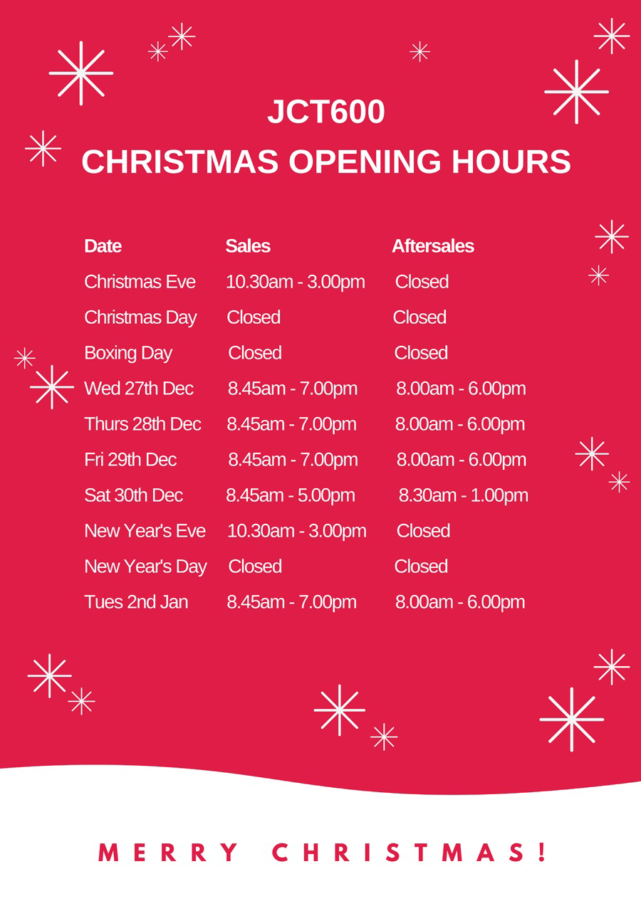 Christmas Opening Hours Jct600